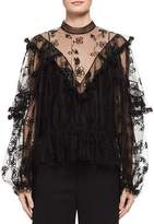 Chloé Long-Sleeve Embroidered Tulle Blouse