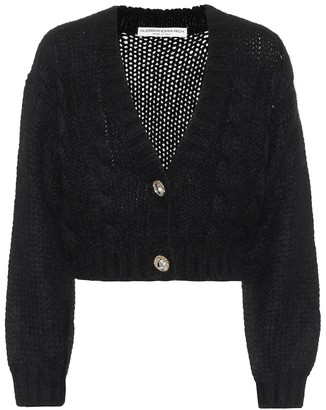 Alessandra Rich Cropped mohair and wool cardigan