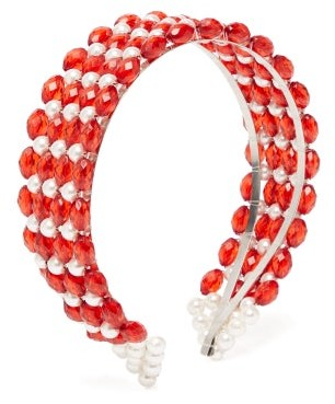 Shrimps Bevelled-bead And Faux Pearl-embellished Headband - Red