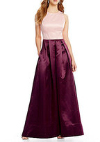 Sangria Two Tone Scoop Neck Ball Gown