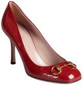 Gucci red patent leather 'Vernice' horsebit pumps