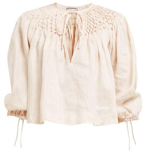 Innika Choo Smocked Collar Linen Blouse - Womens - Light Pink