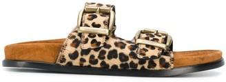 Avec Modération Buckled Leopard Sandals