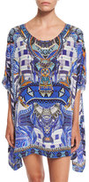 Camilla Printed Embellished Short Caftan Coverup, Rhythm & Blues