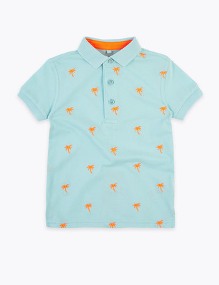 Marks and Spencer Pure Cotton Embroidered Palm Tree Polo Shirt (2-7 Yrs)