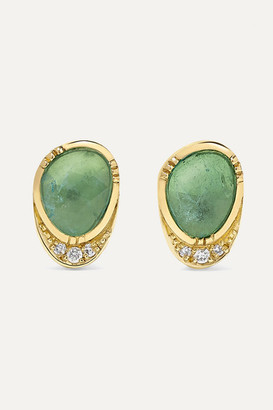 Brooke Gregson Halo 18-karat Gold, Emerald And Diamond Earrings - one size