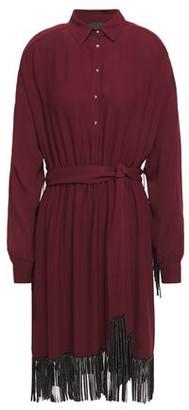 Just Cavalli Crystal-embellished Fringed Crepe Shirt Dress