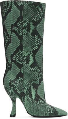 Dries Van Noten Green Snake Mid-Calf Boot
