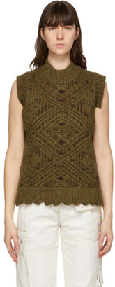 ANDERSSON BELL Brown and Green Heavy Jacquard Sweater