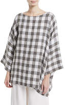 eskandar 3/4-Sleeve Check Linen-Blend Tunic