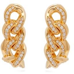 Bottega Veneta Pave Crystal-embellished Chain Earrings - Womens - Gold
