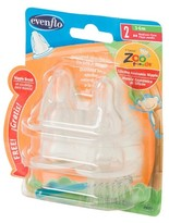 Evenflo Zoo Friends Anatomic Nipple with Brush Medium Flow (4 Pack)