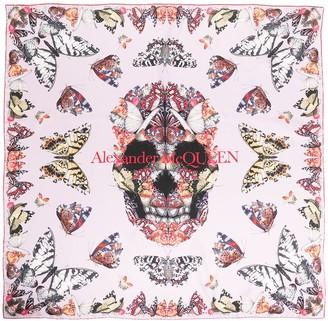 Alexander McQueen Skull And Butterfly Print Silk Scarf
