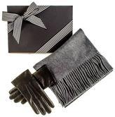Black Rabbit Fur Lined Gloves and Grey Cashmere Scarf Gift Set