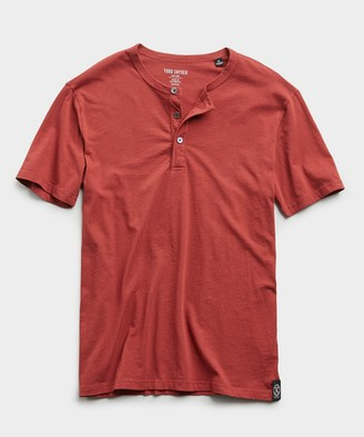 Todd Snyder Made in L.A. Short Sleeve Jersey Henley in Brick