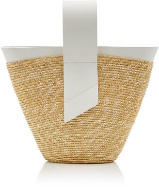 Carolina Santo Domingo Amphora Straw and Leather Top-Handle Bag