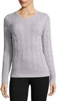 ST. JOHN'S BAY St. John's Bay Long-Sleeve Essential Cable-Knit Sweater