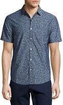 Original Penguin Ivy Leaf-Print Chambray Shirt, Dark Blue