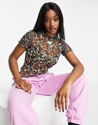 Nike retro printed floral top with mesh sleeves