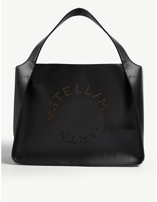 Stella McCartney Circle perforated-logo small faux-leather tote bag
