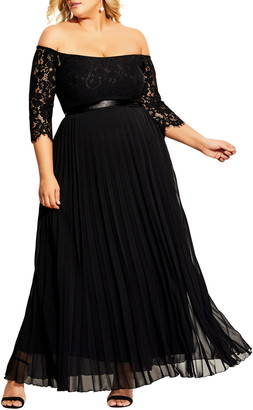 City Chic Intriguing Off the Shoulder Lace Bodice Maxi Dress
