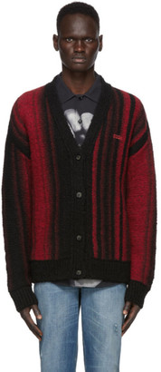 032c Black and Red Knit Logo Cardigan
