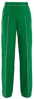 Valentino High Rise Straight Leg Cotton Blend Trousers - Womens - Green