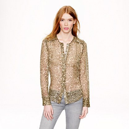 J.Crew Collection ruffle-trim chiffon blouse in abstract animal print