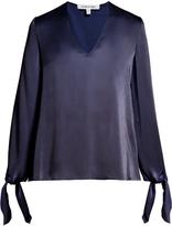 Elizabeth and James Astrid V-neck long-sleeved satin blouse