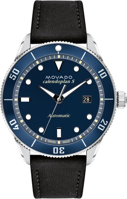 Movado Heritage Automatic Leather Strap Watch, 43mm