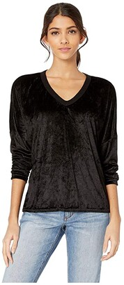 Hard Tail Long Sleeve Slouchy V-Neck Tee (Black) Women's Clothing