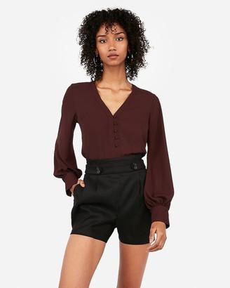 Express Super High Waisted Linen-Blend Button Front Shorts
