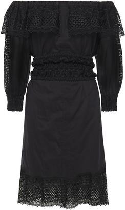 Charo Ruiz Ibiza Adela Off-the-shoulder Crocheted Lace-paneled Cotton-blend Voile Dress