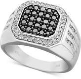 Macy's Men's Black and White Diamond Square Ring in Sterling Silver (1 ct. t.w.)