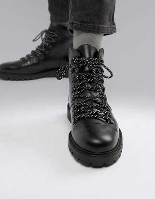Selected leather hiker boots-Black