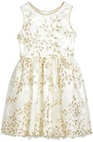 Frais Girl's Embroidered Floral Dress