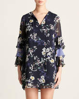 Vince Camuto Floral Tiered Ruffle Sleeve Dress