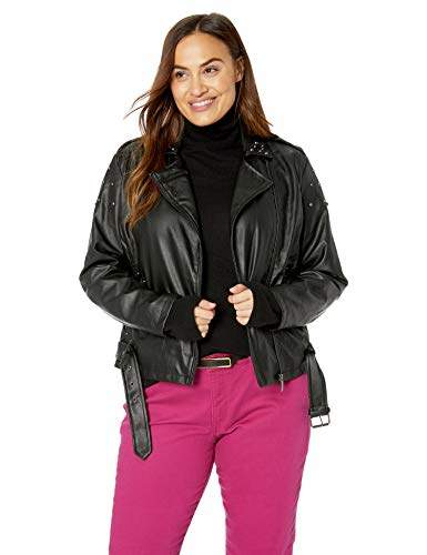 5d215b436 Women's Plus Size Faux Leather Moto Jacket with Studs
