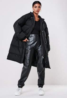 Missguided Black Long Hooded Puffer Coat