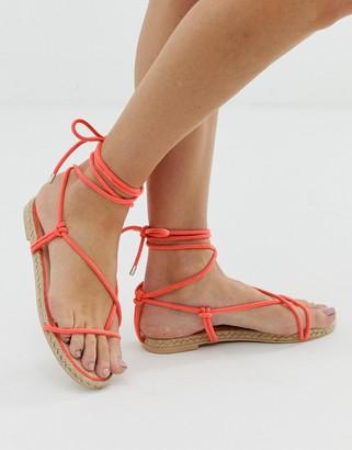 Simmi Shoes Simmi London Hira coral toe loop espadrille sandals-Orange