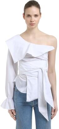 Jonathan Simkhai One Shoulder Cotton Oxford Top