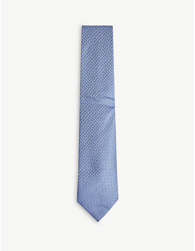 Charvet Square check print silk tie