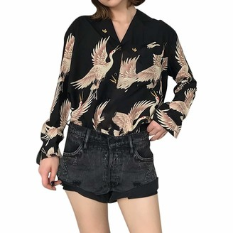 7Lucky Women Casual Shirt Slim V-Neck Long Sleeve Top Fashion Single-Breasted Crane Print T-Shirt Ladies Casual Loose Blouse Black