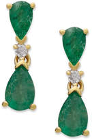 Macy's 14k Gold Earrings, Emerald (1-1/5 ct. t.w.) and Diamond Accent Pear Drop Earrings