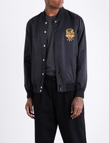 Obey Savage tiger-embroidered satin bomber jacket