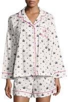 BedHead Queen-Print Long-Sleeve Shortie Pajama Set, White/Black