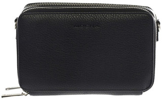 Mocha Double Zip Clutch Crossbody Bag - Black