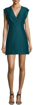 Halston Cap-Sleeve Faux-Wrap Mini Dress, Spruce