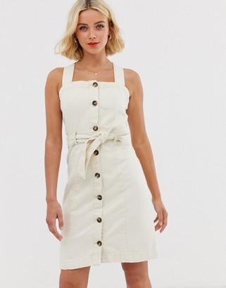Pieces button front denim mini dress-Beige