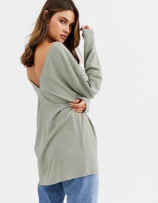 Asos Design DESIGN oversized v neck batwing sleeve top in sage-Green